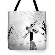 Old Midwest Railroad Warning Crossing Sign And Stop Sign At Dawn Tote Bag