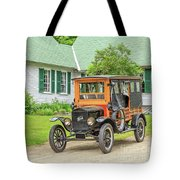 Old Model T Ford In Front Of House Tote Bag