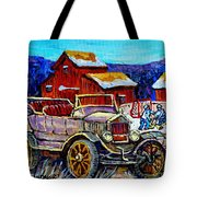 Old Model T Car Red Barns Canadian Winter Landscapes Outdoor Hockey Rink Paintings Carole Spandau Tote Bag