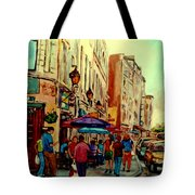 Old Montreal Cafes Tote Bag