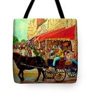 Old Montreal Restaurants Tote Bag by Carole Spandau