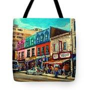 Old Montreal Schwartzs Deli Plateau Montreal City Scenes Tote Bag