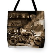 Old Motorcycle Shop Tote Bag by Mike McGlothlen