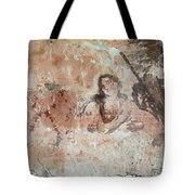 Old Mural Painting In The Ruins Of The Church Tote Bag