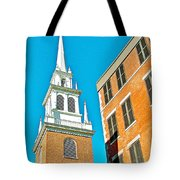 Old North Church Tower In  Boston-massachusetts Tote Bag