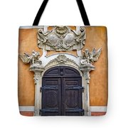 Old Ornate Door At The Cesky Krumlov Castle At Cesky Krumlov In The Czech Republic Tote Bag