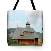 Old Orthodox Wooden Church On Hill Tote Bag