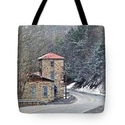 Old Paint Mill Winter Time Tote Bag by Stephanie Calhoun