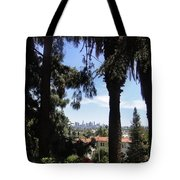 Old Palm Trees And Downtown Los Angeles Tote Bag