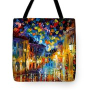 Old Part Of Town - Palette Knife Oil Painting On Canvas By Leonid Afremov Tote Bag