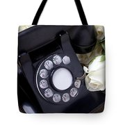 Old Phone And White Roses Tote Bag by Garry Gay
