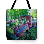 Old Pickup Truck As Flower Bed Tote Bag