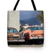 Old Plymouths With Mountain View  Tote Bag