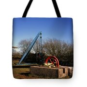 Old Quarry Machinery Winter Day Tegg's Nose Country Park Macclesfield Cheshire England Tote Bag