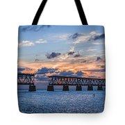 Old Rail Bridge At Florida Keys Tote Bag
