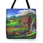 Old Red Appalachian Grist Mill Rural Landscape - Square Format  Tote Bag