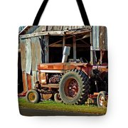 Old Red Tractor And The Barn Tote Bag