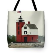 Old Round Island Point Lighthouse Michigan Tote Bag