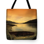 Old Rowboat At Waters Edge With Sunset Tote Bag by Don Hammond