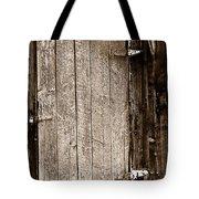 Old Rustic Black And White Barn Woord Door Tote Bag