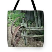 Old Rusty Wagon Wheels And Weathered Fence Tote Bag