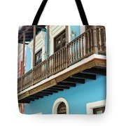 Old San Juan Houses In Historic Street In Puerto Rico Tote Bag