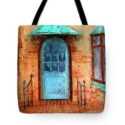 Old Service Station With Blue Door Tote Bag