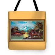 Old Shed Close To A River H B With Decorative Ornate Printed Frame. Tote Bag