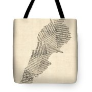 Old Sheet Music Map Of Lebanon Tote Bag