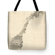 Old Sheet Music Map Of Norway Tote Bag