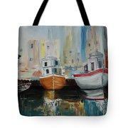 Old Ships At Dock Tote Bag