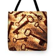 Old Skeleton Keys On Sheet Music Tote Bag by Garry Gay