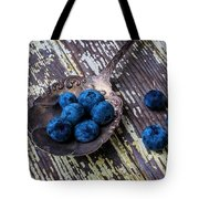 Old Spoon And Blueberries Tote Bag