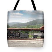 Old Steam Locomotive On Railway Station Tote Bag