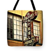 Old Steel Neon Sign Tote Bag