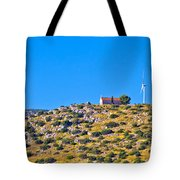 Old Stone Church And Green Energy Plant Tote Bag