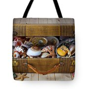 Old Suitcase Full Of Sea Shells Tote Bag by Garry Gay