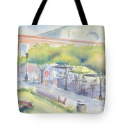 Old Town Mazatlan Square Where The Musicians Play, People Eat And Play. Tote Bag