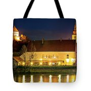 Old Town Of Ptuj Evening Riverfront View Tote Bag