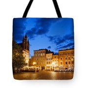 Old Town Square By Night In Torun Tote Bag