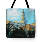Old Town Tower In Menton Tote Bag
