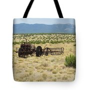Old Tractor And Rake In New Mexico Tote Bag