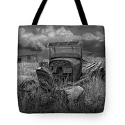 Old Truck Abandoned In The Grass In Black And White At The Ghost Town By Okaton South Dakota Tote Bag