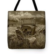 Old Truck Abandoned In The Grass In Sepia Tone Tote Bag