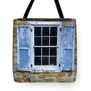 Old Village Window With Blue Shutters Tote Bag