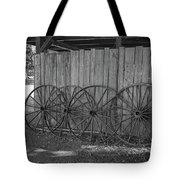Old Wagon Wheels Black And White Tote Bag