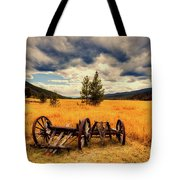 Old Wagons In Meadow Tote Bag