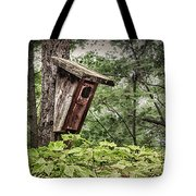 Old Weathered Worn Bird House In Summer Tote Bag