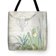 Old West Cactus Garden W Longhorn Cow Skull N Succulents Over Wood Tote Bag