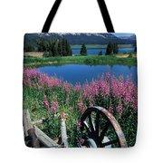 Old Wheel And Brooks Lake Tote Bag by Kathy Yates